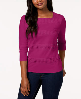 Karen Scott Cotton Crochet-Stripe Square-Neck Top, Created for Macy's