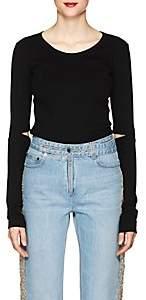 Helmut Lang Women's Cutout Cotton Rib-Knit T-Shirt - Black