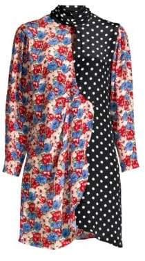 DAY Birger et Mikkelsen Rixo Cherie Floral& Polka Dot Patchwork Silk Shirtdress
