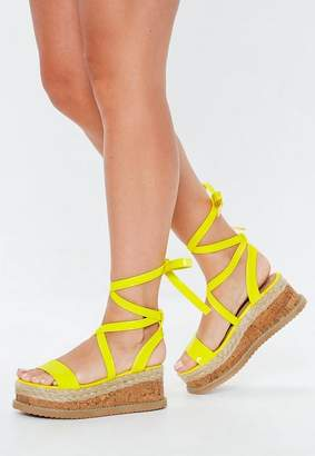 Missguided Neon Yellow Lace Up Flatform Espadrilles