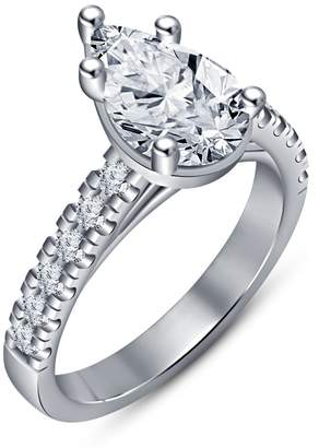 575 Denim TVS-JEWELS TVS JEWELS Half Eternity Solitaire With Accents Ring W/ Stering Silver Platinum Plated CZ (6.25)