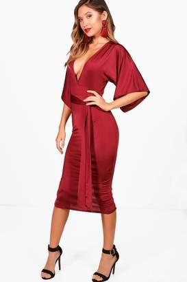 boohoo Leni Slinky Kimono Sleeve Tie Waist Midi Dress