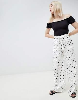 Pull&Bear polka dot tie waist pants in white