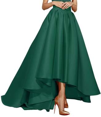 Homdor Satin High-Low Maxi Prom Party Skirts High Waist Pleated A Line Skater Dress