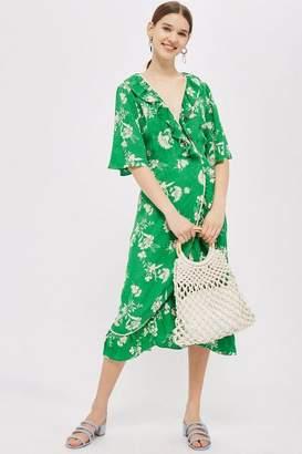Topshop Leaf Print Ruffle Wrap Dress