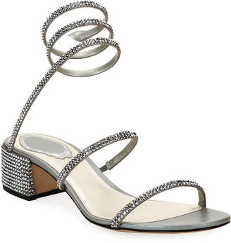 Rene Caovilla Crystal Snake 40mm Sandals, Silver