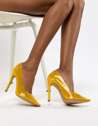 446cb4bc859 Public Desire Extra transparent yellow court shoes