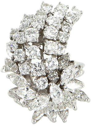 One Kings Lane Vintage Diamond Cluster Cocktail Ring - Precious & Rare Pieces