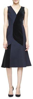 Derek Lam Sleeveless Velvet-Inset Dress, Classic Navy $2,595 thestylecure.com