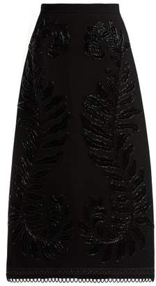 Andrew Gn Wool Embellished Leaf Midi Skirt - Womens - Black