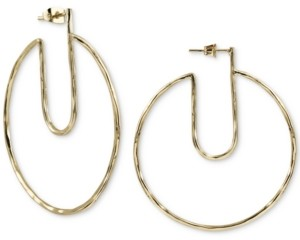 Argentovivo Gold-Tone Hammered Cut-Out Hoop Earrings in Gold-Plated Sterling Silver