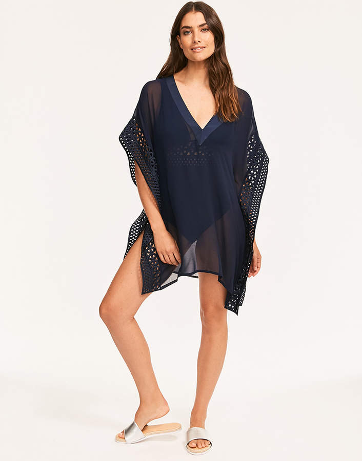 Lace Trim Square Cover Up