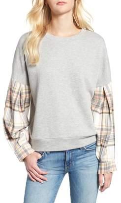 Caslon Flannel Sleeve Sweatshirt