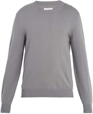 Maison Margiela Crew-neck suede-trimmed cotton sweater