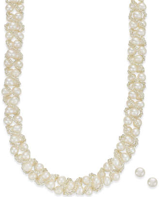 Macy's Cultured Freshwater Pearl Necklace (4mm pearls) and Stud Earrings (6mm pearls)) Set in Sterling Silver