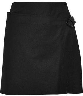 Helmut Lang Buckled Wrap-Effect Wool-Blend Twill Mini Skirt
