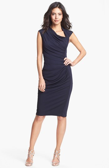 Vera Wang Draped Jersey Sheath Dress