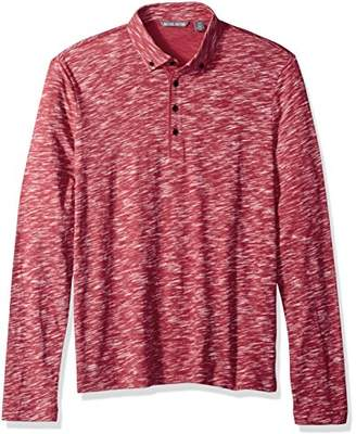 Michael Bastian Men's Long Sleeve Slub Reverse Printed Polo