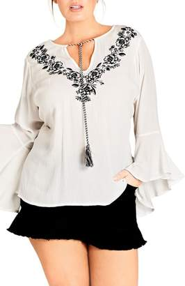 City Chic Lover Embroidered Tunic