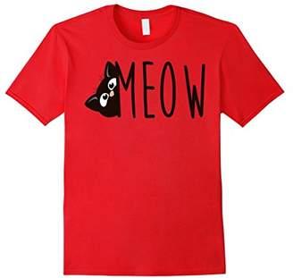 Cat Meow Kitty Woman Teen Black T-Shirt