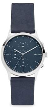 Skagen Jorn Leather-Strap Chronograph Watch