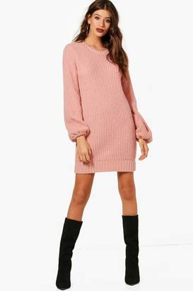 boohoo Rib Detail Blouson Sleeve Jumper Dress