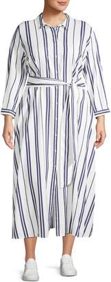 Vince Camuto Plus Valiant Striped Belted Shirtdress