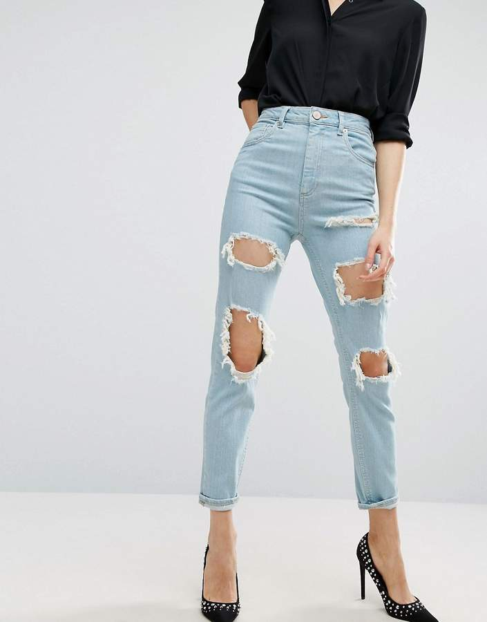 Asos FARLEIGH High Waist Slim Mom Jeans In Eternal Chalky Light Stonewash with Extreme Rips