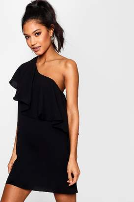 boohoo Off The Shoulder Ruffle Detail Shift Dress
