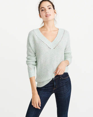 Abercrombie & Fitch V-Neck Pointelle Sweater
