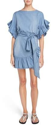 Etoile Isabel Marant Lelicia Denim Ruffle Dress