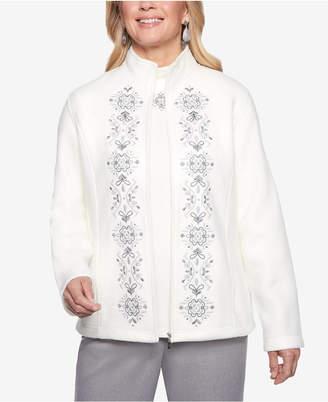 Alfred Dunner Stocking Stuffers Embroidered Zip-Up Fleece Jacket