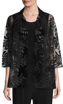 Caroline Rose 3/4-Sleeve Leather Leaf Mesh Jacket, Black $395 thestylecure.com