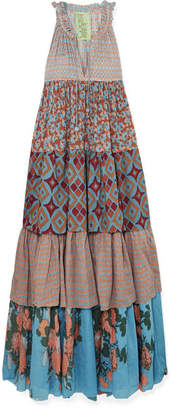 Yvonne S - Tiered Printed Cotton-voile Maxi Dress - Blue