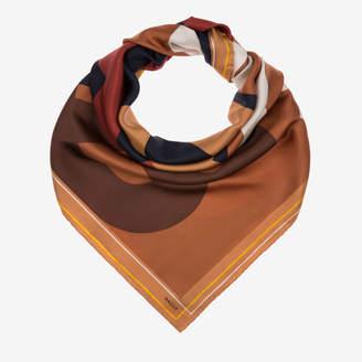 Bally 4 Bs Printed Scarf Brown, Women's silk twill scarf in multi-cowboy