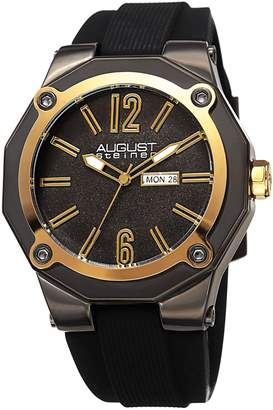 August Steiner Men's Quartz Stainless Steel and Leather Casual Watch, Color Black (Model: AS8232GNG)