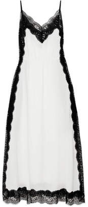 Christopher Kane Lace-trimmed Silk-chiffon Maxi Dress - White