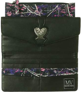 Monte Vista Purple Camo Camouflage Wings Rhinestone Trifold Ladies Wallet