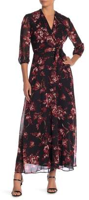 Chetta B Surplice Neck Print Waist Tie Dress