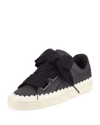 Puma Basket Heart Scallop Ribbon-Lace Leather Low-Top Sneakers