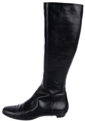 Jimmy Choo Leather Round-Toe Knee-High Boots Black Leather Round-Toe Knee-High Boots