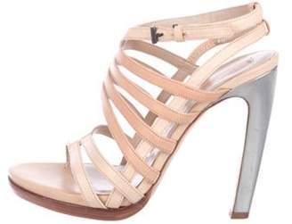 Reed Krakoff Leather Peep-Toe Sandals Tan Leather Peep-Toe Sandals