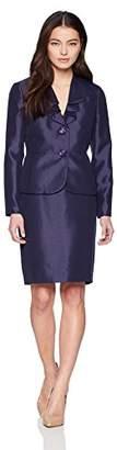 Le Suit Women's Petite Shiny 2 Bttn Skirt Suit