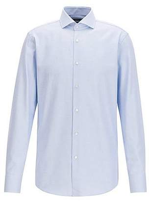 HUGO BOSS Slim-fit micro-structure shirt in yarn-dyed cotton