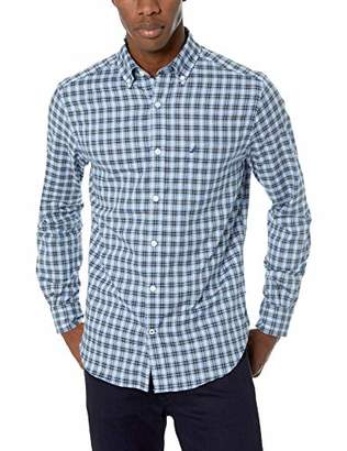 Nautica Men's Ls Wrinkle Resistant Stretch Poplin Plaid Button Down Shirt