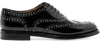 Church's Burwood Met Studded Glossed-leather Brogues - Black