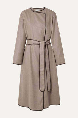 The Row Helga Leather-trimmed Cashmere Coat - Mushroom
