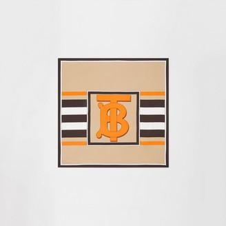 Burberry Monogram and Icon Stripe Print Silk Square Scarf