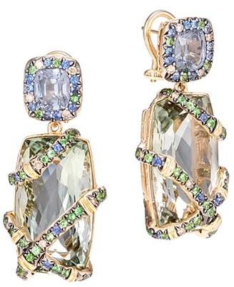 John Hardy 18K Yellow Gold Cinta Bamboo Rainbow Stone Drop One-of-a-Kind Earrings with Brown Diamond Accent - 100% Exclusive