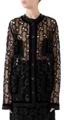 Gucci GG Leather Macrame Jacket